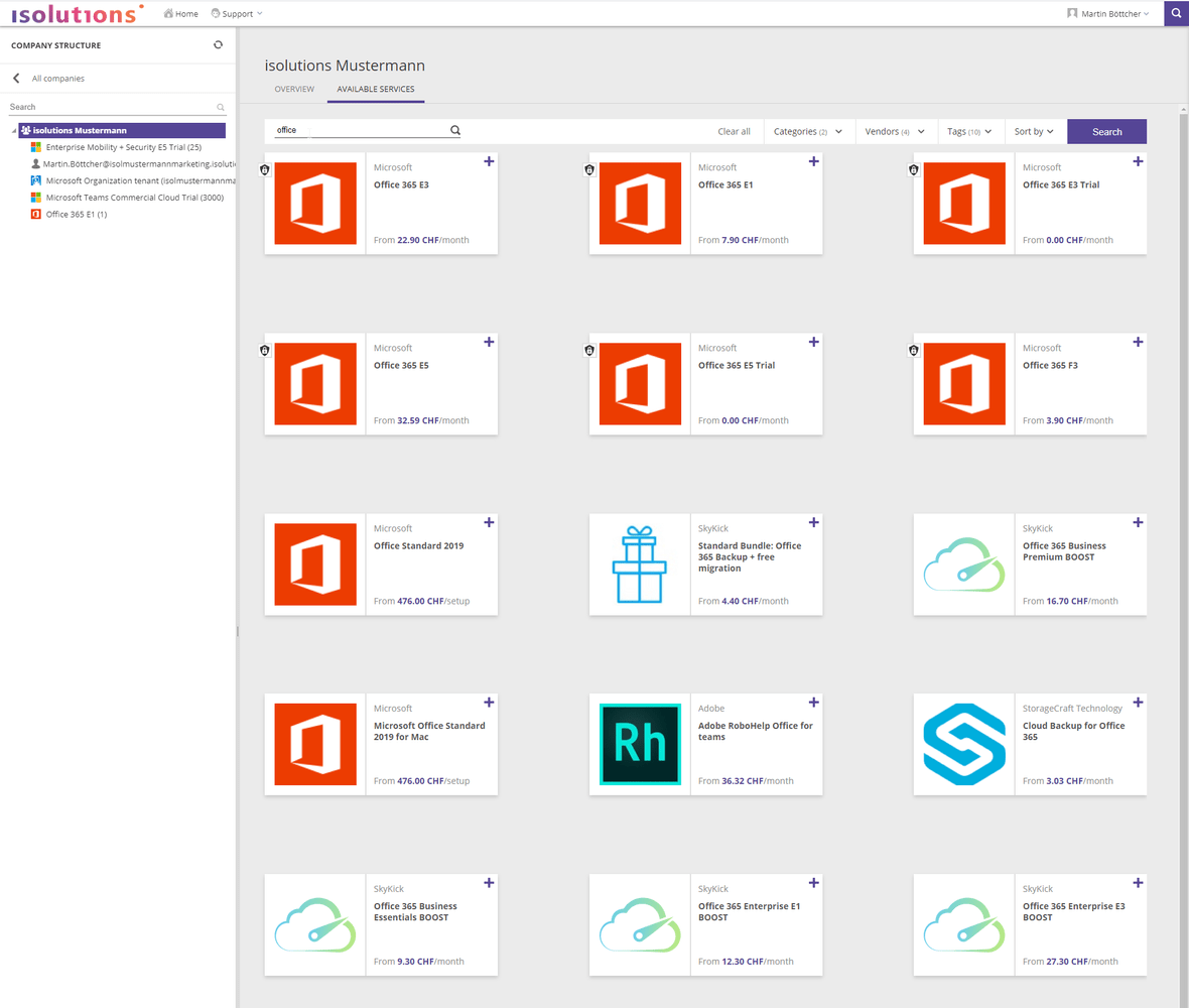 Isolutions Marketplace - Lizenzoverview Office