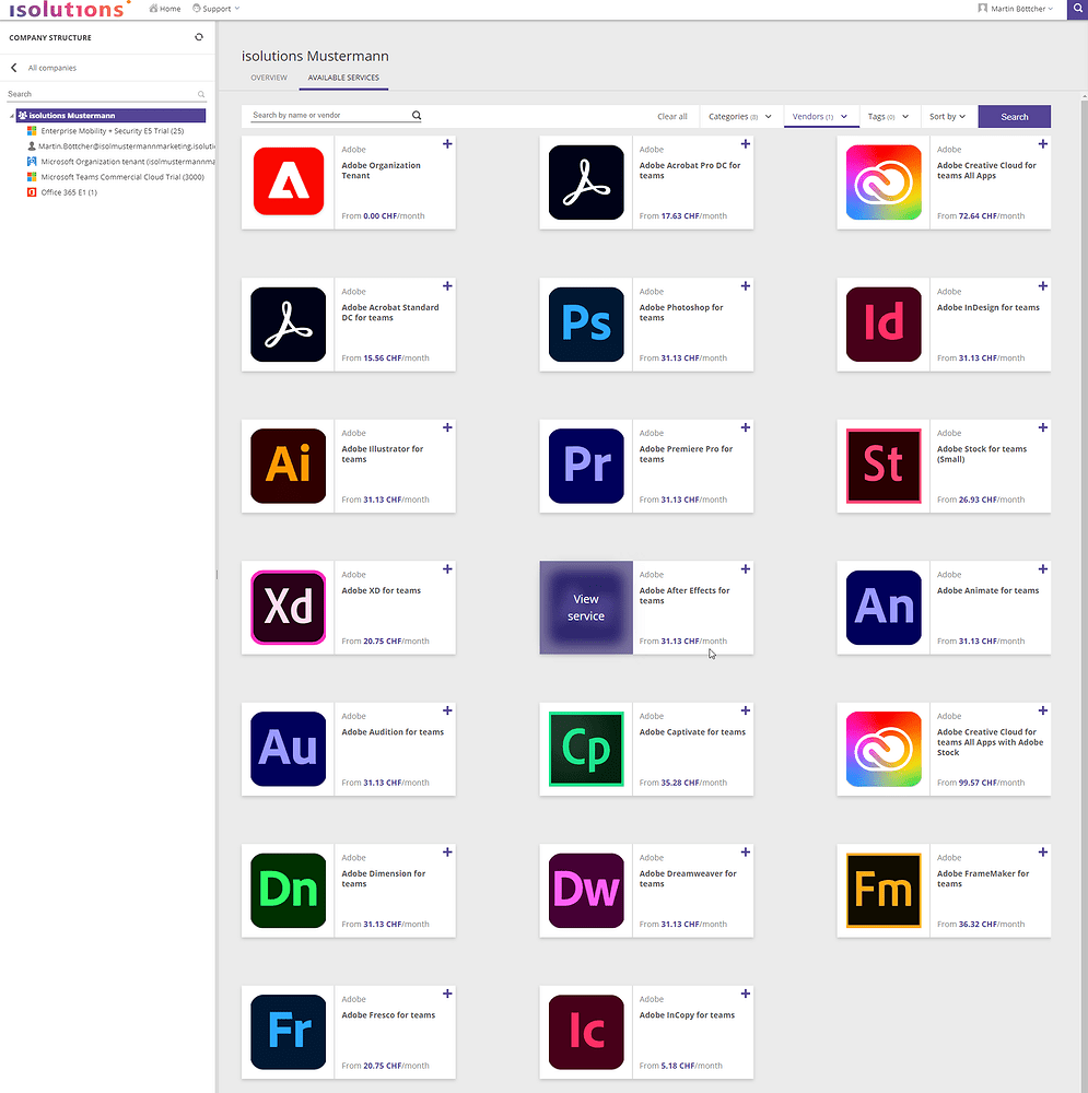 Isolutions Marketplace - Lizenzoverview Adobe