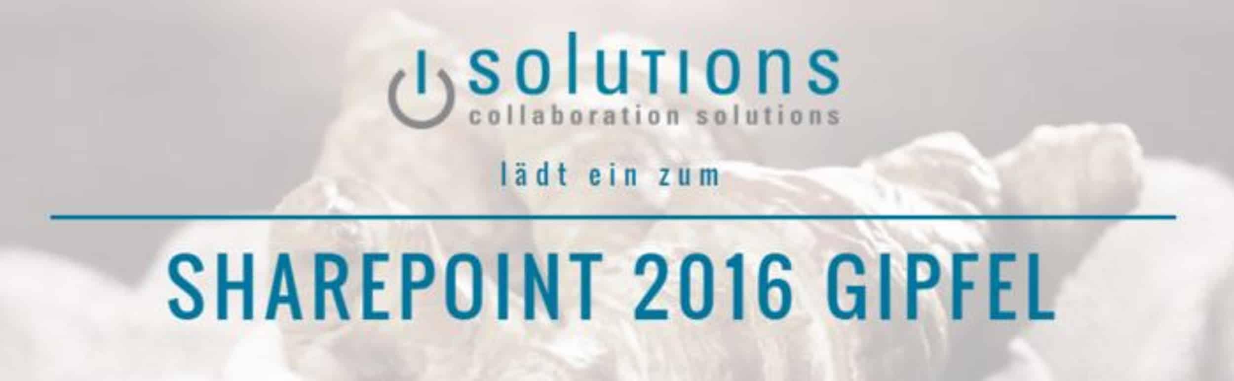 Einladung zum isolutions SharePoint 2016 Gipfel